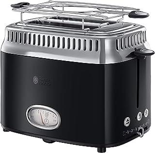 Russell Hobbs Toaster Grille-Pain, 3 Fonctions, Température Ajustable, Réchauffe Viennoiserie, Design Vintage - Noir 2168...