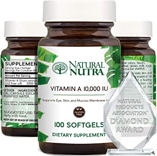 Natural Nutra Vitamin A 10,000 IU, Retinol Palmitate Dietary Supplement from Cod Liver Oil, Extra Strength for Eye, Skin, ...