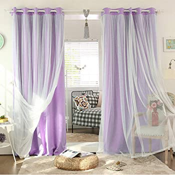 Didihou Voile Mix Match Blackout Curtain Elegant Panel Double Layer Darkening Thermal Insulated Window Treatment Grommet Drapes for Living Room Girls Bedroom, 1 Panel (42W x 63L Inch, Light Purple)
