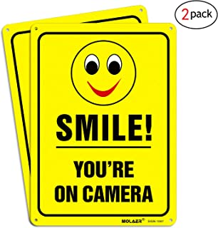 MOLAER Smile You're on Camera 2-Pack Video Surveillance Sign, 10