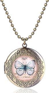 HIUYOO Ciondolo con Foto Ciondolo Medaglione Donna Forma Rotonda con Uccello e Farfalla