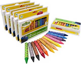 Sesame Street 12-Count Washable Jumbo Crayons, 6 Pack, 72 Crayons Total Assorted Colors, Great for Classrooms