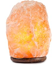 HemingWeigh Natural Himalayan Rock Salt Lamp 19-25 lbs with Wood Base, Electric Wire & Bulb