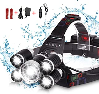 DELEE Waterproof 12000 Lumen 5 Led Headlamp XML T6+4Q5 Head Lamp Powerful Led Headlight, Rechargeable Flashlight Head Ligh...