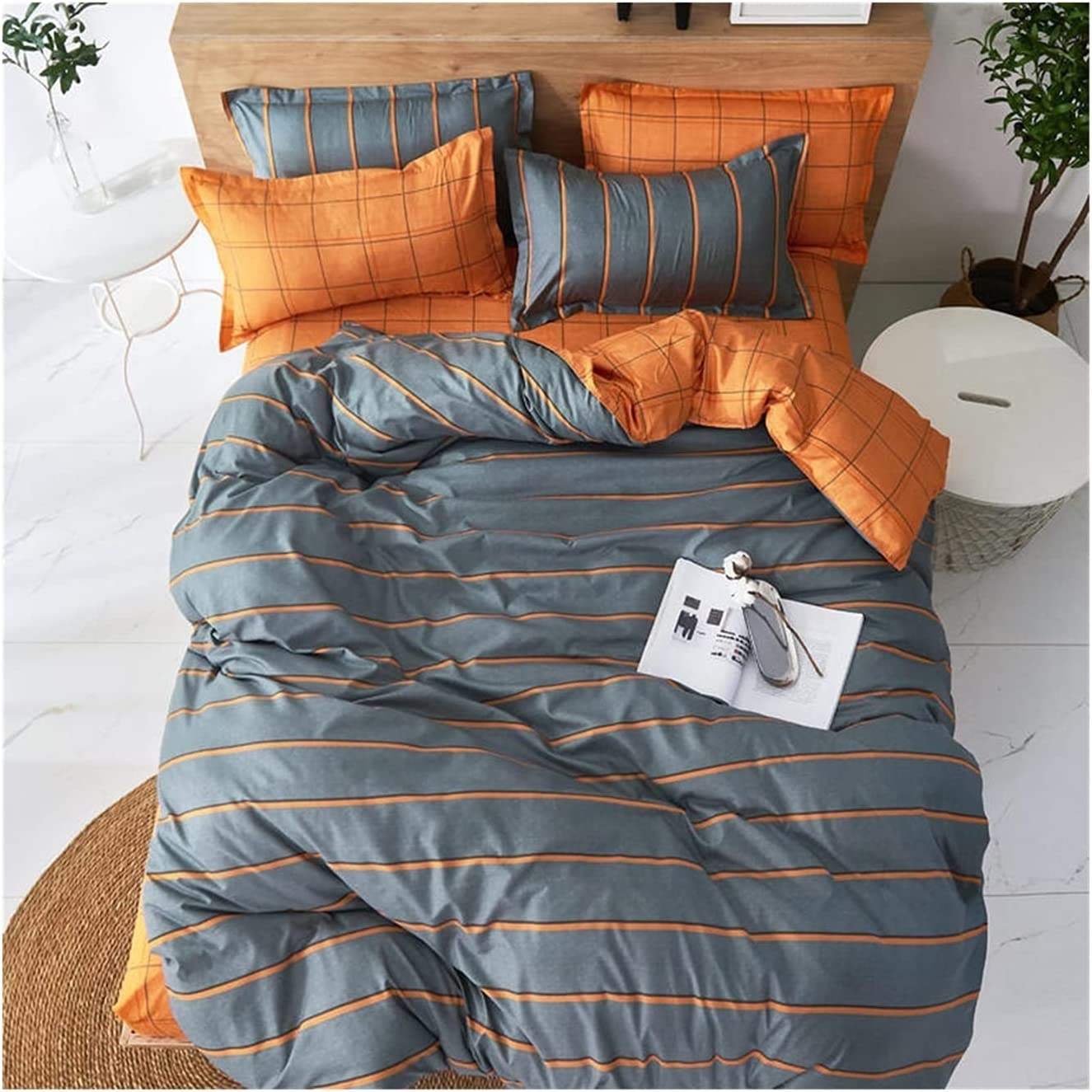 2021 spring and summer new LSDJ QMDSH Home Textile Gorgeous Girl Bedding Cover Duvet Set Pink Peach