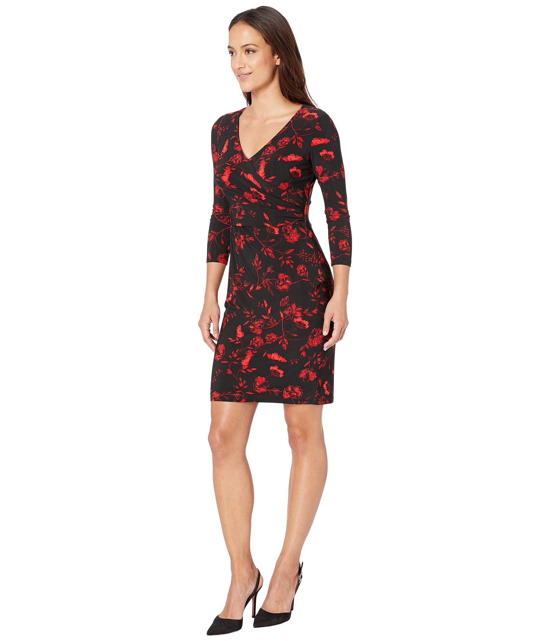 B759 Day Bellaire Ralph Petite Floral Dress multi red Bethy Lauren Black Fp4qt