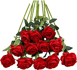 Tifuly 12PCS Rose Artificial Flower, Single Stem Fake Floral Bridal Wedding Bouquet, Realistic Blossom Flora for Home Garden Party Hotel Office Decorations (Red)