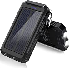 $21 » Solar Charger, 20000mAh Solar Power Bank for Camping Outdoor, with 2 Led Flashlight and 2 USB Output Ports, Portable Solar...