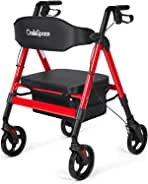 OasisSpace Heavy Duty Rollator Walker - Bariatric Rollator Walker with Large Seat for Seniors Support Up 450 lbs (Red)