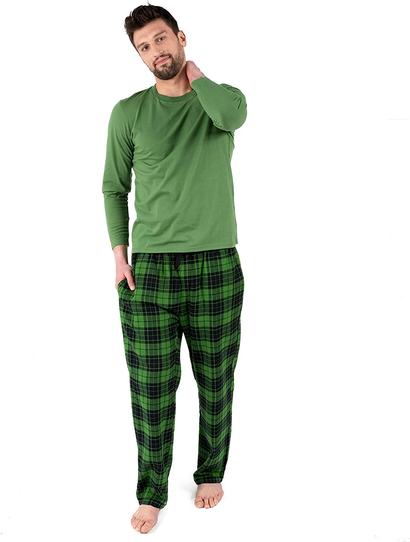 Leveret Mens Cotton Direct store Top Flannel Pants Department store Pajama Size 2 Piece Set