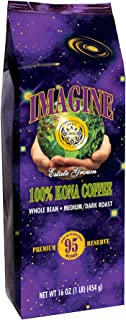 Kona Coffee Beans by Imagine - 100% Kona Hawaii - Medium Dark Roast Whole Bean (16oz-Whole Bean)