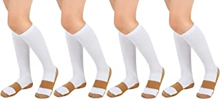 Copper Compression Socks (4 Pair) For Men Women 10-20 mmhg below Knee Over the Calf For Sports Medical Travel