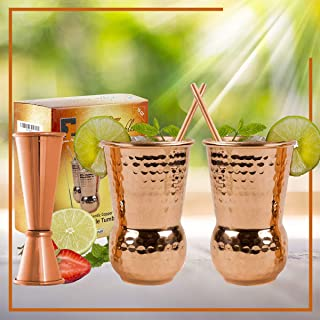 EXTRA THICK HEFTY- set of 2-20 Gauge Moscow Mule Copper Mugs by Eximius Power | 100% Pure Food Safe Copper Drinking Cups |16 oz Hammered Design Handcrafted Tumblers | Bonus Jigger and 2 Straws