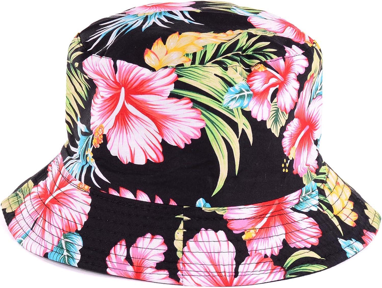 BYOS Packable Reversible Black Printed Fisherman Bucket Sun Hat, Many Patterns