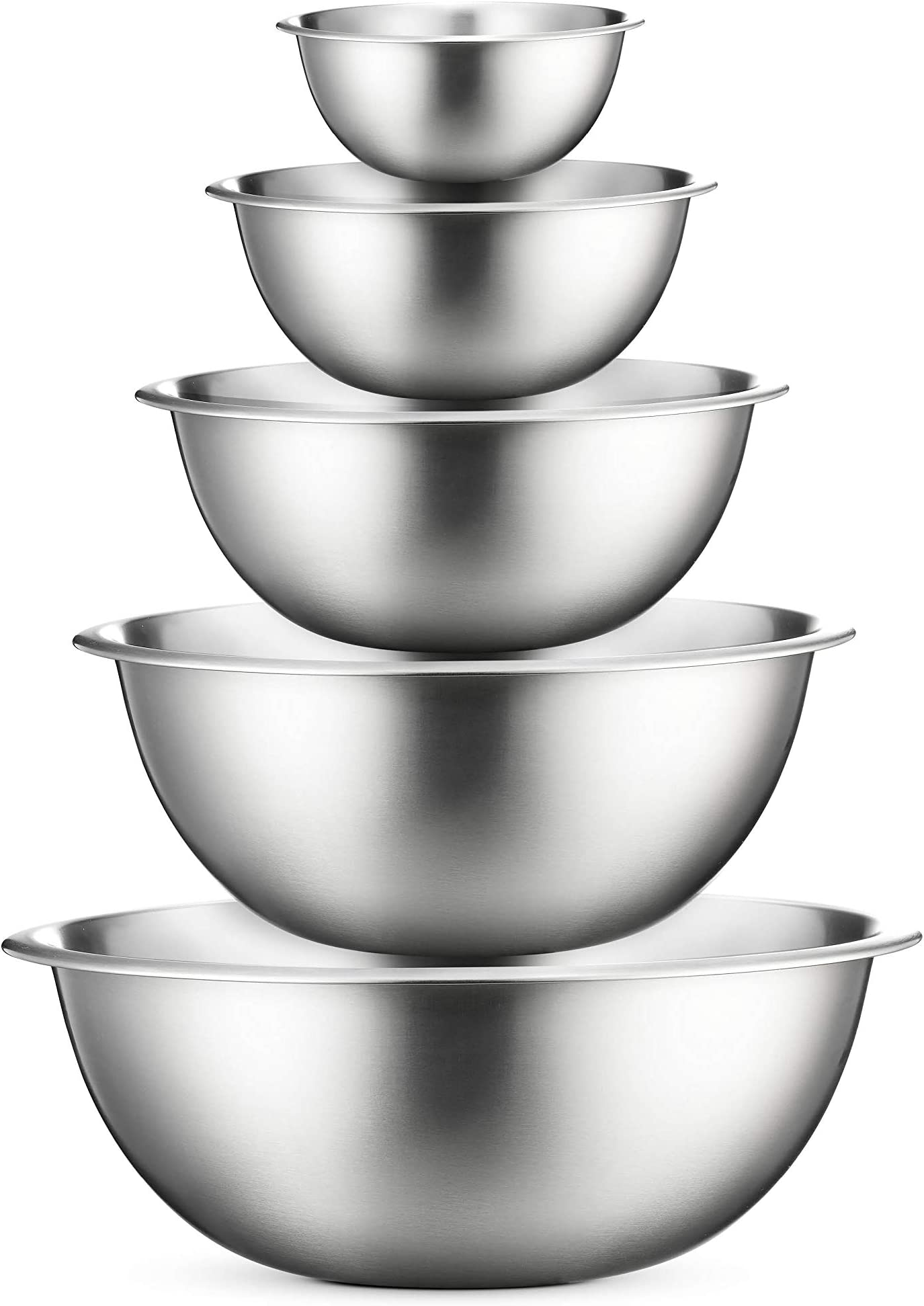 Stainless Steel Mixing Bowls (Set of 6) Stainless Steel Mixing Bowl Set - Easy To Clean, Nesting Bowls for Space Saving Storage, Great for Cooking, Baking, Prepping (5-Sizes)