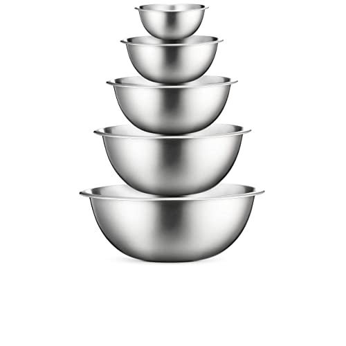 Stainless Steel Mixing Bowls - Set of 5 Brushed Stainless Steel Mixing Bowl Set - Easy To Clean, Nesting Bowls for Space Saving Storage, Great for Cooking, Baking, Prepping