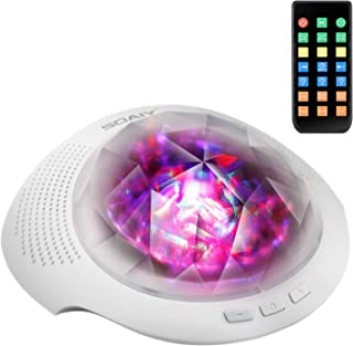 SOAIY Aurora Led Night Light & Sleeping Sound Machine With Remote, Timer, Built in Bluetooth Speaker for Kids, White