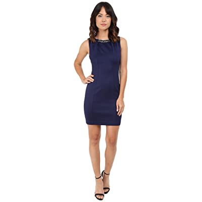 Jessica Simpson Embellished Sleeveless Scuba Dress JS5D7736 (Navy) Women