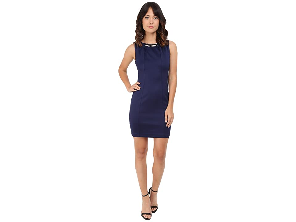 Jessica Simpson Embellished Sleeveless Scuba Dress JS5D7736 (Navy) Women