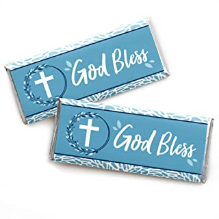 Blue Elegant Cross - Candy Bar Wrapper Boy Religious Party Favors - Set of 24