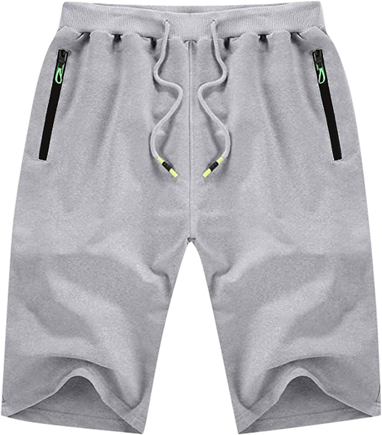 PHSHY Summer Short Pants for Mens Casual Elastic Waist Drawstring Hipster Joggering Sport Trousers with Zipper Pocket