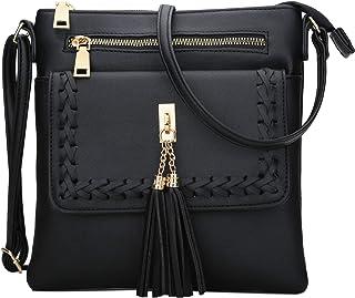 KKXIU | Crossbody Bags Purses Women | Lightweight Functional Multi Pocket Double Zipper Purse | Adjustable Strap | Tassel