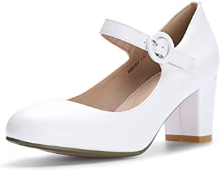 Women's RO2 Candy Classic Low Chunky Block Heel Mary Jane Round Toe Buckle Strap Office Work Pumps Shoes