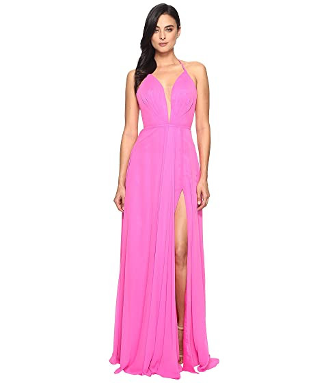 Faviana Chiffon V-Neck Gown w/ Full Skirt 7747 Cherry Pink Visa Payment Sale Online Sale Low Price Cheapest Price Online Under Sale Online Wholesale Price Cheap Online 2rg9W5K9Q