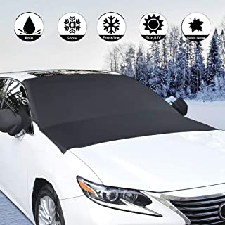 Car Snow Cover,Double Side Design Sun Shade Winter for All Season,Cover Car Sunshades for Windshield with Magnetic Edges Fits Most Cars and SUV
