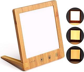 SAD Light Therapy Lamp 10000 Lux, lámpara de luz diurna de grano de madera ayuda a combatir el trastorno afectivo estacional, lámpara portátil de energía solar natural con función de temporizador