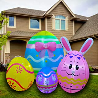 SEASONBLOW 5 Foot Inflatable Easter Bunny Eggs Decorations for Yard Garden Lawn Indoors Outdoors Home Holiday