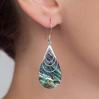 Boho Dangle Teardrop Abalone shell Earrings, Unique Sterling Silver Large paua shell earrings, Ethnic Gypsy Style, Handmade Statement Jewelry
