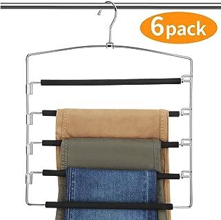 AMKUFO Pants Hangers 5 Layers Multi Trouser Hangers Space Saving Hangers Stainless Steel Non-Slip Foam Padded Swing Arm (6 Pack)