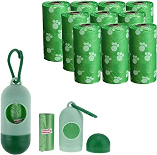 Mumoo Bear Dog Waste Poop Bags with Dispenser, 10 Refill Rolls/150 Pieces
