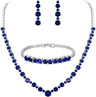 Tennis Necklace 2.5mm Round Cubic Zirconia 16 Necklace 925 Sterling Silver Choose Color Blue Apple Co