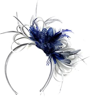 Silver Grey & Navy Fascinator Headband Wedding Kentucky Derby Races