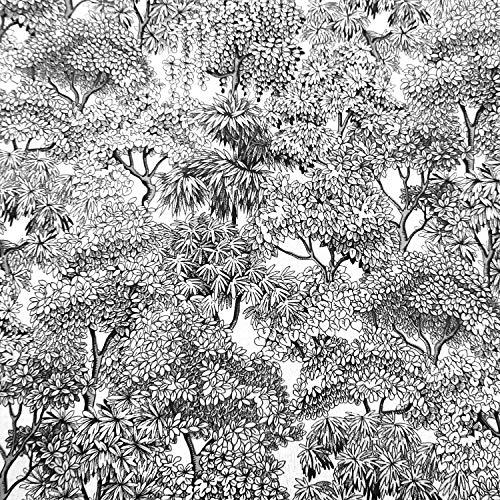 Werthers Stoffe Stoff Meterware Baumwolle Dschungel weiß schwarz Urwald Baum Bäume Dekostoff Baumwollstoff DIY