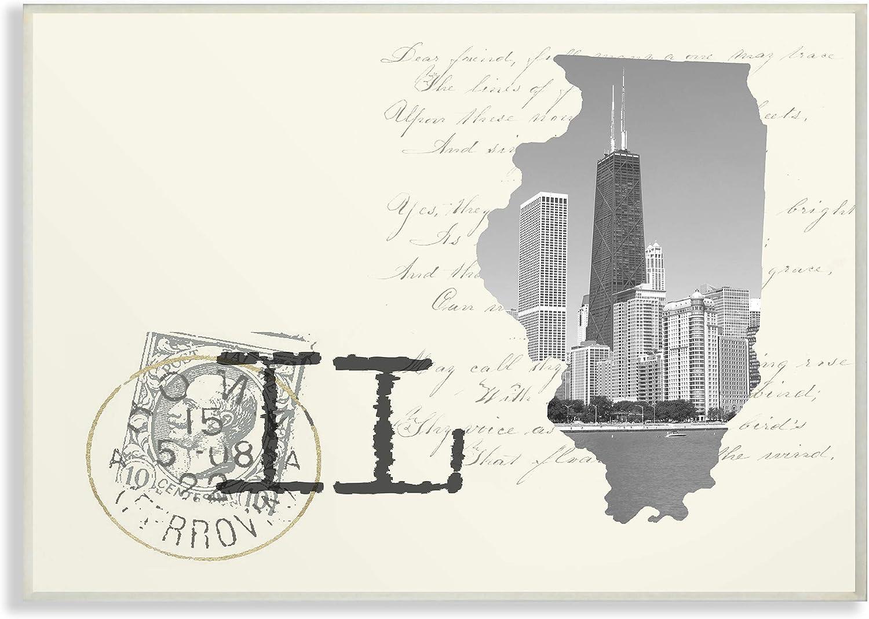 The Stupell Home Decor Illinois Black and White Photograph on Cream Paper Postcard Wall Plaque Art, 13 X 19 Multi-color