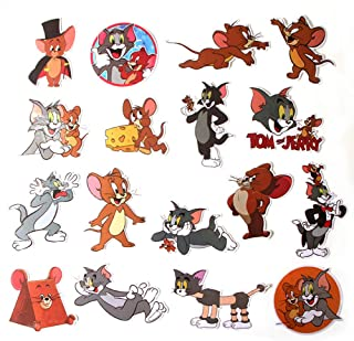 Cartoon Show Tom and Jerry Themed 17 Piece Sticker Decal Set for Kids Adults - Laptop Motorcycle Skateboard Decals