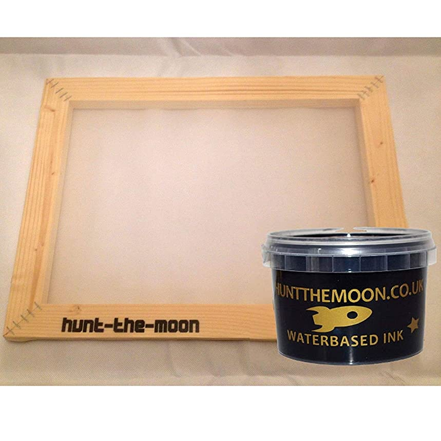 Hunt The Moon Screen Printing Frame and Ink Kit, Wooden, Medium A4 77t
