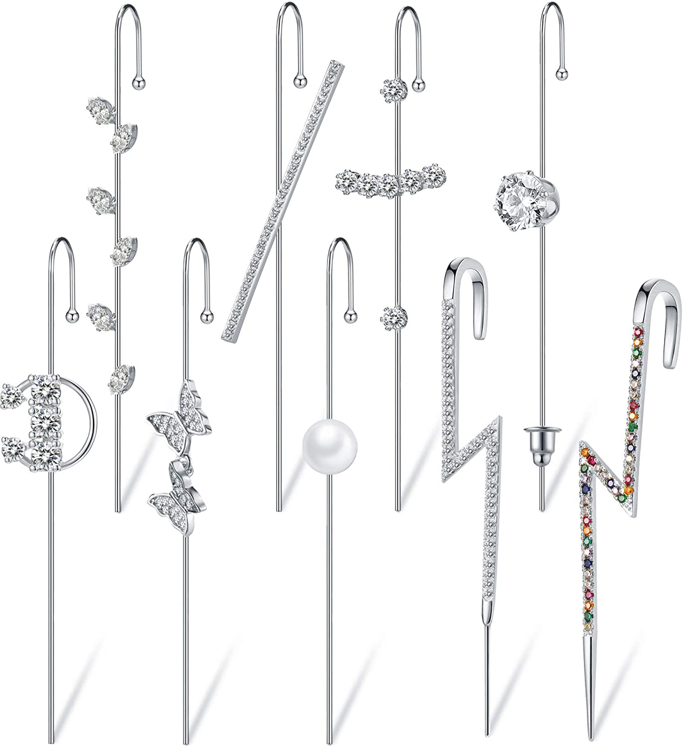 9 Pieces Limited time cheap sale Ear Cuffs Crawler Zirconia Cubic Hook Earrings Clim online shop