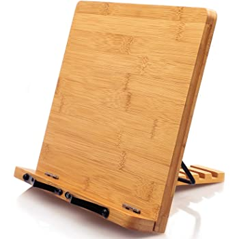 Bamboo Cookbook Stand, Reading Book Stand Holder, Kitchen Desk Wooden Cooking Bookstand for Recipe, Textbook, Tablet, Laptop, Foldable and Portable Sturdy with 5 Adjustable Height by Pipishell