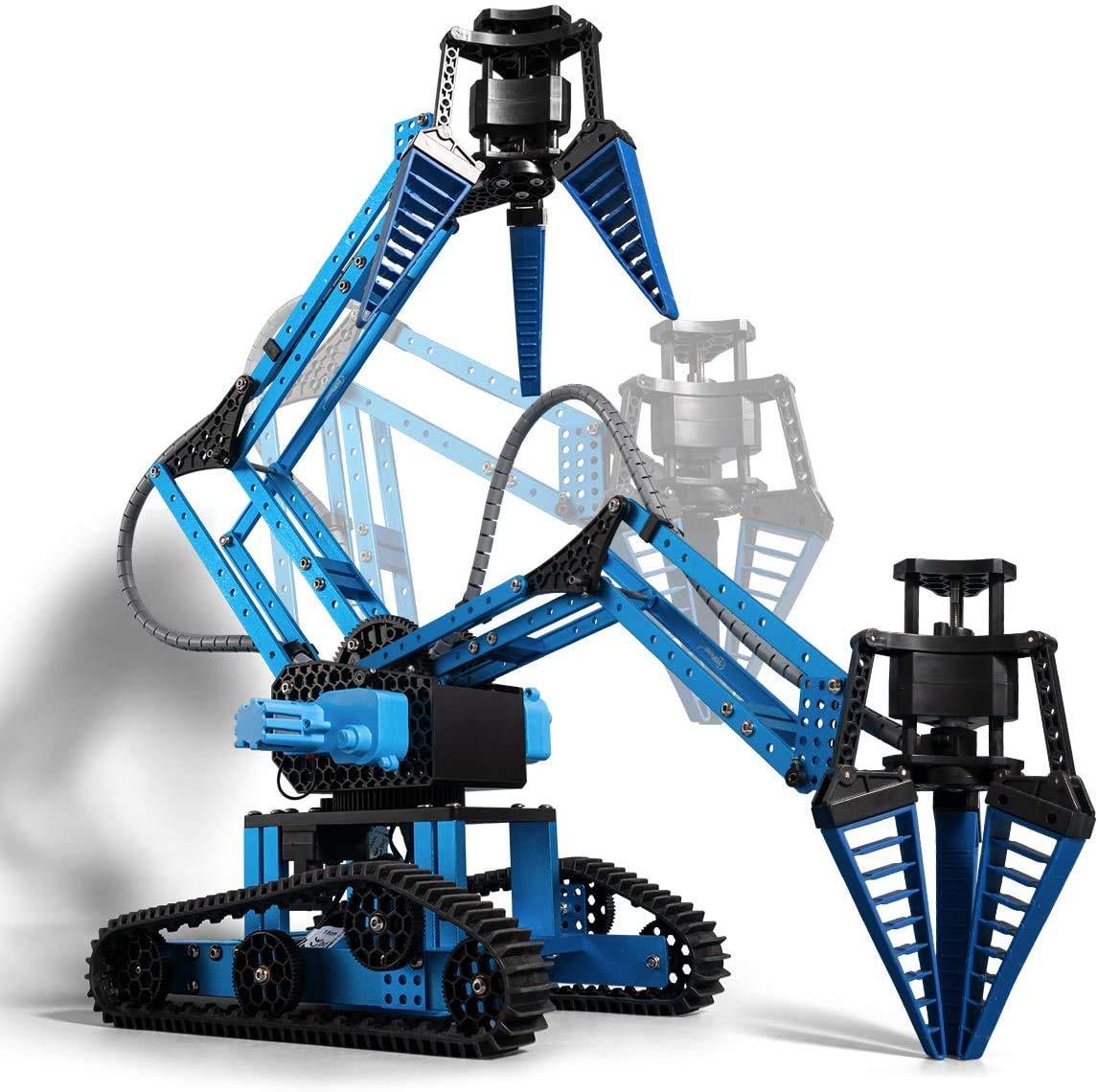 Top Race Remote Control RC Robot Arm, Alloy Metal Mechanical Robotic Arm Building Kit, DIY Take Apart Stem Excavator Robot