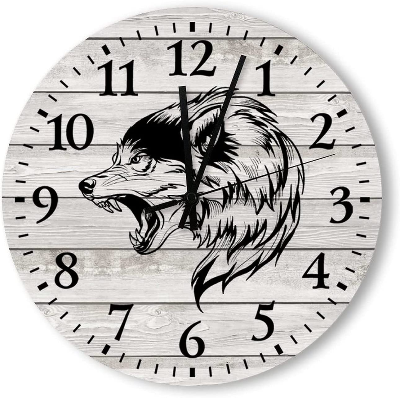 Wood Wall Clock - Wolf Head Style Rustic 14 Max 76% OFF Max 65% OFF 12 inch Country