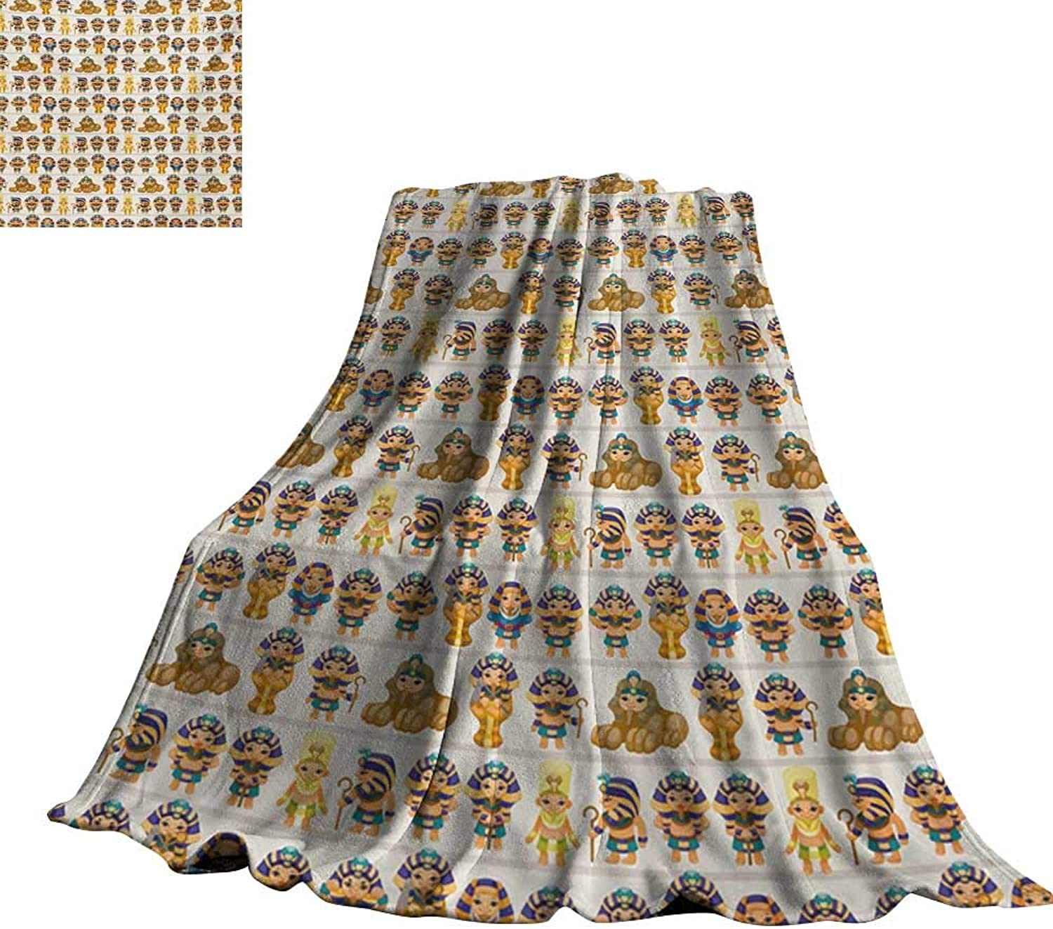 RenteriaDecor Egyptian,Baby Blanket Cute Kids Design with Egyptian Cartoon Ancient Figures King Queen Myth Pattern Lightweight Plush Throws 60 x50