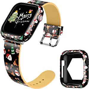 Goton Compatible for Apple Watch Leather Band 38mm 40mm iWatch SE Series 6 5 4 3 2 1 with Bumper Case, Cute Christmas Strap Wristband + Protective Cover for iWatch All Series (Reindeer, 38/40)