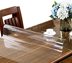 ETECHMART 2.0mm Thick 42 x 72 Inches Clear PVC Table Top Protector for 6ft Table Wipeable Heat Resistant Waterproof Tablecloth Cover Rectangular Vinyl Desk Pad for Dining Table