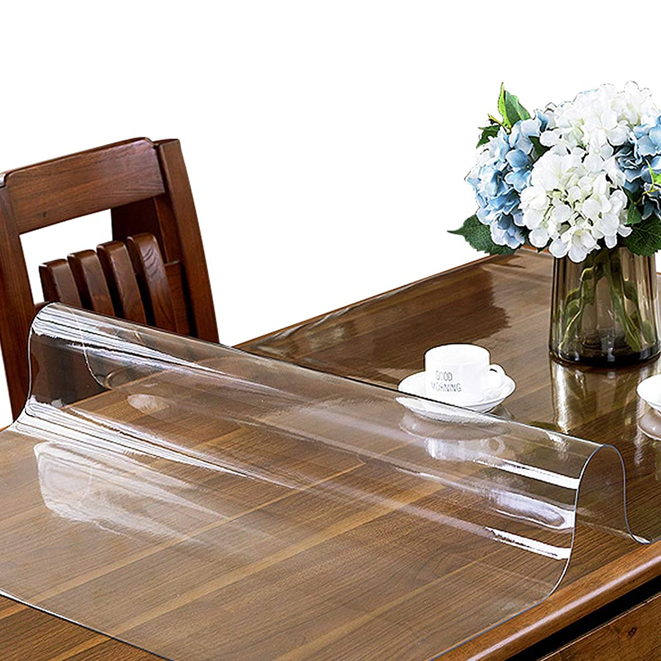 ETECHMART 1.5mm Thick 24 x 48 Inches Clear PVC Table Cover Protector for 4ft Table Non-Slip Waterproof Rectangular Vinyl Desk Pad for Coffee Table, Writing Desk, End Table