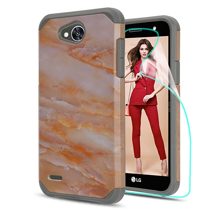 LG Fiesta 2 Case,LG X Power 2 / X Charge / K10 Power/Fiesta LTE Case with HD Phone Screen Protector, Marble Pattern Shock Absorption Hybrid Dual Layer Armor Protective Cover for LG LV7-DLS Rose Gold