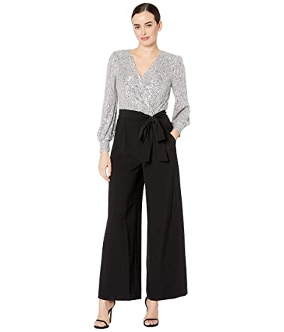 Tahari by ASL Long Sleeve Stretch Sequin and Chiffon Jumpsuit (Silver) Women